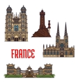 French travel landmarks icon thin line style vector image vector image