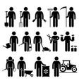 gardener man worker using gardening tools and vector image