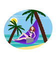 girl freelancer working on the beach vector image vector image