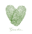 Green fingerprint with heart on a white background vector image vector image