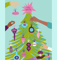 greeting card with people decorating christmas vector image vector image
