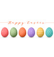 happy easter eggs set of whtie easter eggs with vector image