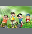 happy kids jumping and laughing with the nature sc vector image vector image