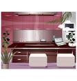 Laptop open kitchen counter vector image vector image