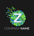 letter z green yellow particles and bubble dots vector image