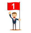 man holding number one flag successful start up vector image vector image