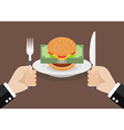 Man prepare to eat burger with money vector image
