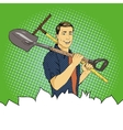 Man with garden tools in vector image