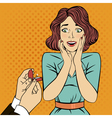 Marriage Proposal Engagement Surprised Woman vector image