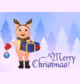 merry christmas greeting card cute smiling pig in vector image vector image