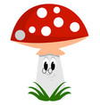 mushroom with glasses on white background vector image vector image