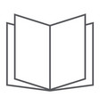 open book thin line icon school and education vector image