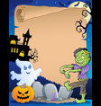 scene with halloween parchment 3 vector image vector image