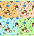 school seamless pattern with funny owls vector image vector image