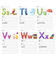 set alphabet worksheet on white paper vector image