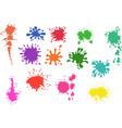 set cartoon colored paint splashes watercolor vector image