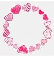 set doodle hearts frame vector image vector image