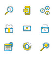 set of 9 flat line business icons shopping and vector image vector image