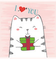 sketch cartoon white cat hugs gift vector image vector image
