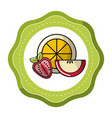 sticker orange strawberry and apple fruit icon vector image vector image