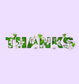 thanks inscription abstract flowers on pink vector image