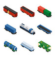 trains isometric set of freight trains consisting vector image