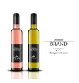 wine bottles realistic white and rose vector image vector image