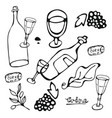 wine collection hand drawn set of graphic vector image vector image