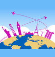 worldwide air travel background vector image vector image