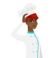 young african-american chef scratching her head vector image vector image