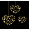 gold hearts textured vector image