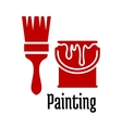 Painting icons with a brush and tin of paint vector image