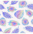 palm tree leaves seamless pattern with dots vector image