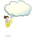 A girl above the glass with an empty callout vector image vector image