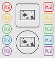 Aquarium Fish in water icon sign symbol on the vector image vector image