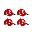 baseball caps with capital letters alphabet vector image
