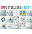 big set of 15 modern infographic business design vector image