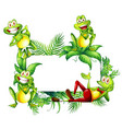 border template with happy frogs vector image vector image