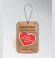 bronze tag with red heart vector image