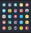 bundle of app flat icons vector image