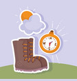 Camping boot compass vacations activity adventure