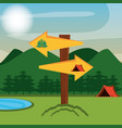 camping zone with tent and arrows vector image vector image