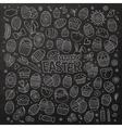 chalkboard doodles cartoon set easter vector image
