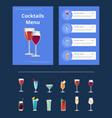 cocktails menu bar layout vector image