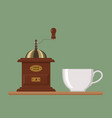 coffee mill with white cup vector image vector image