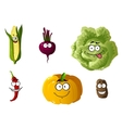 Corn pepper pumpkin cabbage and potato vector image vector image
