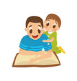 dad reading a book to his little son family vector image vector image