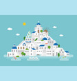 flat design of santorini cityscape view vector image