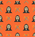 halloween seamless pattern with ghost and sickles vector image vector image