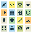 interface icons set with apps activity user and vector image vector image